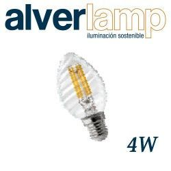 BOMBILLA LED VELA TORNADO FILAMENTO REGULABLE 4W E14 ALVERLAMP LVTFI0414W