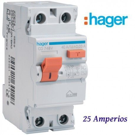 DIFERENCIAL 2X25A. 30 MA. HAGER