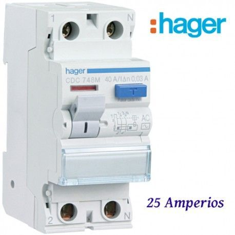 "DIFERENCIAL ""AC"" 2X25A. 30MA HAGER"