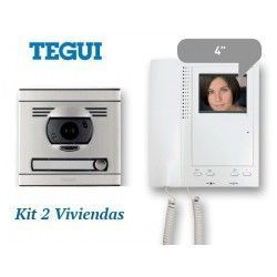 KIT DE VIDEO PORTERO CONVENCIONAL 2 VIVIENDAS MONITOR COLOR SERIE 7 TEGUI 375047