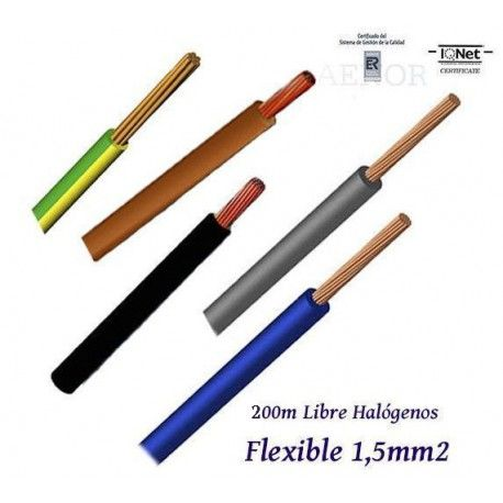 CABLE 1,5MM2 FLEXIBLE 07Z1-K LIBRE HALOGENOS 750V - ROLLO 200 METROS