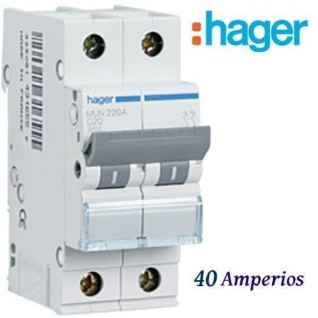 "AUTOMATICO MAGNETOTERMICO ""C"" 1+N 40A  6KA HAGER MUN540A"