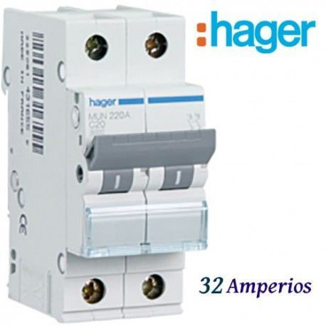 "AUTOMATICO MAGNETOTERMICO ""C"" 1+N 32A  6KA HAGER MUN532A"