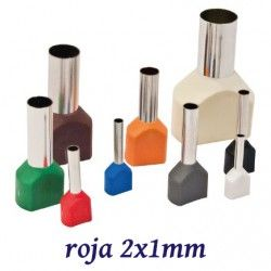 PUNTERA ELECTRICA DOBLE AISLADA ROJA PARA CABLE DE 2X1MM K50082