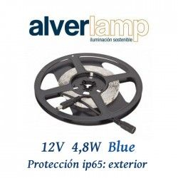TIRA LED 4,8W 12V PARA EXTERIOR IP65 COLOR AZUL ROLLO DE 5 METROS ALVERLAMP LT01260
