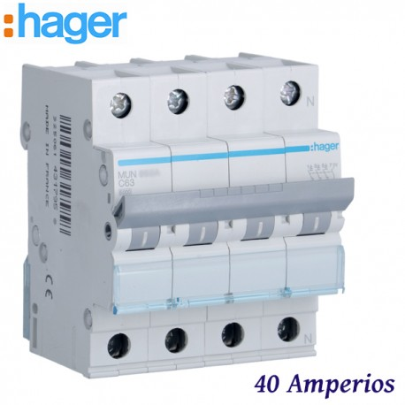 "AUTOMATICO MAGNETOTERMICO ""C"" 3P+N 40A 6KA HAGER MUN640A"
