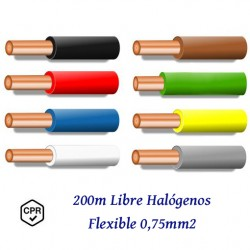 CABLE 0,75MM2 FLEXIBLE LIBRE DE HALOGENOS 750V